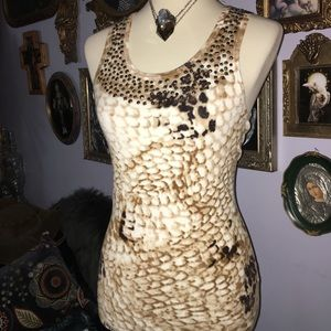 Cache Snake Print Sequin Bead Knit Tank Top XS